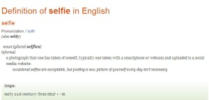 Selfie definition from Oxford english dictionary